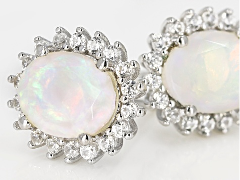 Multi-color Opal Rhodium Over Silver Earrings .73ctw