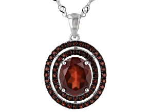 Hessonite Garnet Rhodium Over Sterling Silver Pendant With Chain 4.65ctw