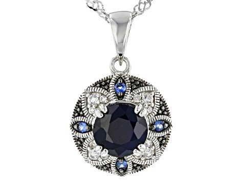 Blue Sapphire Rhodium Over Sterling Silver Pendant with Chain 1.66ctw