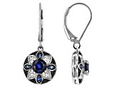 Blue Sapphire Rhodium Over Sterling Dangle Earrings 1.50ctw