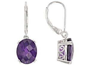 Purple amethyst rhodium over sterling silver dangle earrings 5.95ctw