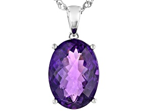 Purple amethyst rhodium over silver pendant with chain 10.62ct