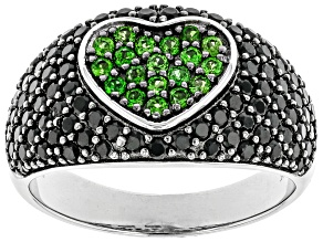 Green Chrome Diopside Rhodium Over Sterling Silver Ring 1.44ctw