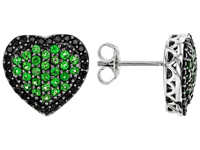 Green Chrome Diopside Rhodium Over Sterling Silver Heart Earrings 1.22ctw