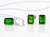 Green chrome diopside Sterling Silver Earrings, Pendant with Chain Set 2.51ctw