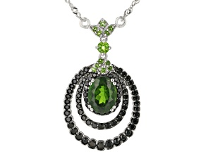 Green Chrome Diopside Rhodium Over Silver Necklace 2.84ctw