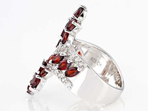 Red Garnet Rhodium Over Silver Ring 3.48ctw