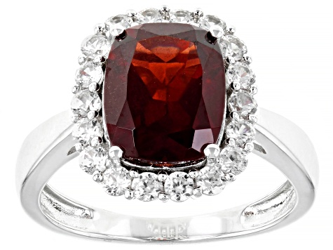 Red Garnet Rhodium Over Silver Ring 4.18ctw