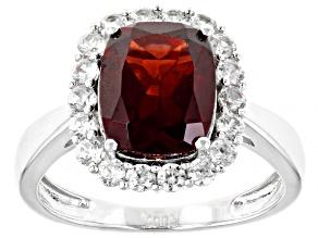Red Garnet Rhodium Over Silver Ring 4.18ctw