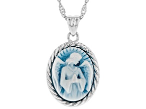 Blue agate cameo rhodium over sterling silver pendant with chain