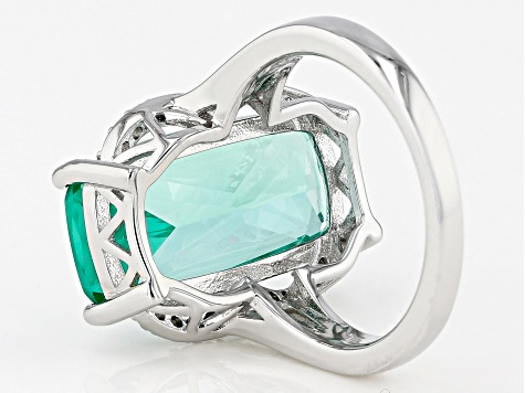 Green Lab Created Spinel Rhodium Over Silver Ring 9.89ctw