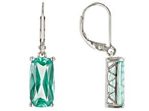 Green Lab Created Spinel Rhodium Over Silver Earrings 6.89ctw