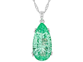 Green Lab Created Spinel Rhodium Over Silver Pendant With Chain 8.10ct