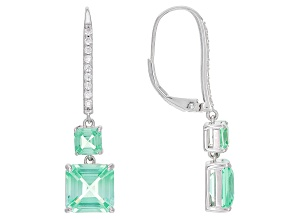 Green Lab Created Spinel Rhodium Over Silver Earrings 7.71ctw