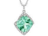 Green Lab Created Spinel Rhodium Over Silver Pendant With Chain 7.37ctw