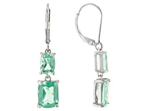 Green Lab Created Spinel Rhodium Over Silver Earrings 5.90ctw