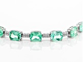 Green Lab Created Spinel Rhodium Over Silver Bracelet 33.42ctw