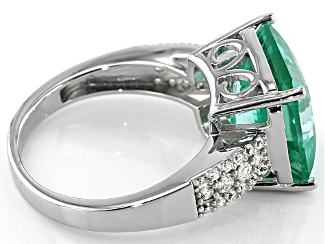 Green Lab Created Spinel Rhodium Over Silver Ring 8.20ctw