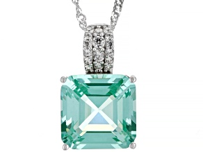 Green Lab Created Spinel Rhodium Over Silver Pendant With Chain 7.98ctw