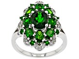 Green Chrome Diopside Rhodium Over Silver Ring 3.54ctw