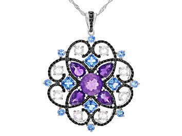 Picture of 9.50ctw Multi-Color Gemstone Rhodium Over Silver Medallion Pendant With Chain
