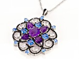 9.50ctw Multi-Color Gemstone Rhodium Over Silver Medallion Pendant With Chain