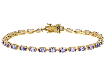 Picture of Blue Tanzanite 18k Yellow Gold Over Silver Tennis Bracelet 5.50ctw