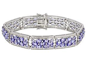 Blue Tanzanite Rhodium Over Sterling Silver Bracelet 16.85ctw