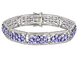 Blue Tanzanite Rhodium Over Sterling Silver Bracelet 16.85ctw