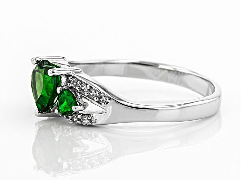 Green Chrome Diopside Rhodium Over Sterling Silver Ring 1.02ctw