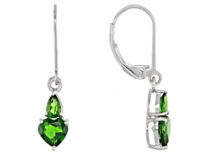 Green Chrome Diopside Rhodium Over Sterling Silver Earrings 1.83ctw