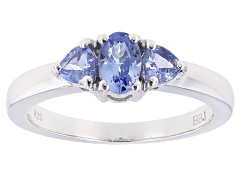 Blue Tanzanite Rhodium Over Sterling Silver 3-Stone Ring .80ctw