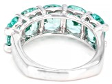 Green Lab Created Spinel Rhodium Over Silver Ring 6.38ctw