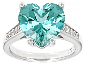 Green Lab Created Spinel Rhodium Over Silver Ring 5.64ctw