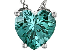 Green Lab Created Spinel Rhodium Over Silver Pendant With Chain 5.49ct