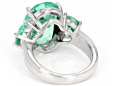 Green Lab Created Spinel Rhodium Over Silver Ring 11.04ctw