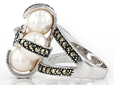 White Cultured Freshwater Pearl Rhodium Over Sterling Silver Ring
