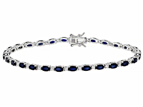 Blue sapphire rhodium over sterling silver bracelet 7.98ctw