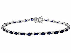 Blue sapphire rhodium over sterling silver bracelet 7.98ctw