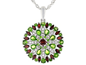 Red Garnet Rhodium Over Silver Pendant With Chain  4.28ctw