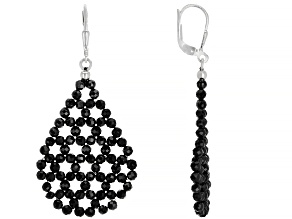 Black spinel rhodium over sterling silver woven lace earrings.
