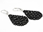 Black Spinel Rhodium Over Sterling Silver Woven Lace Earrings Approximately 24.00ctw