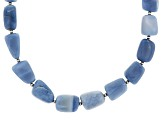 Blue Opal Nugget Rhodium Over Sterling Silver Necklace