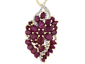 Red Ruby 18k Yellow Gold Over Sterling Silver Pendant with Chain 8.70ctw