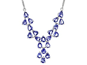 Blue Tanzanite Rhodium Over Sterling Silver Necklace 6.42ctw