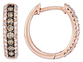 Champagne And White Diamond 10k Rose Gold Hoop Earrings .50ctw