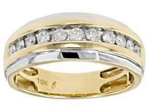 White Diamond 10k Yellow Gold Gents Band .50ctw
