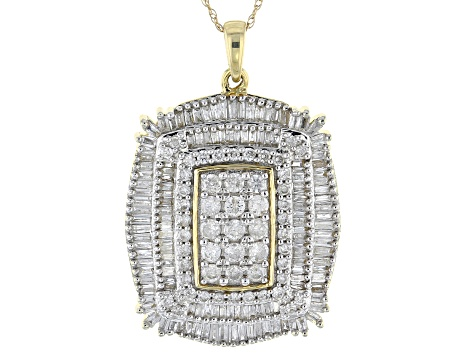 "White Diamond 10k Yellow Gold Cluster Pendant With 18"" Rope Chain 2.00ctw"