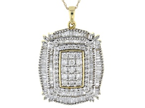 White Diamond 10k Yellow Gold Pendant 2.00ctw