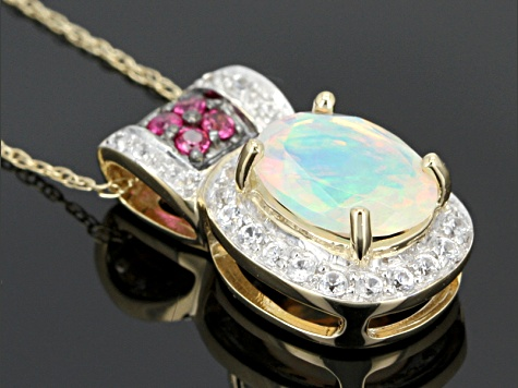 Ethiopian Opal 10k Yellow Gold Pendant With Chain 1.12ctw.